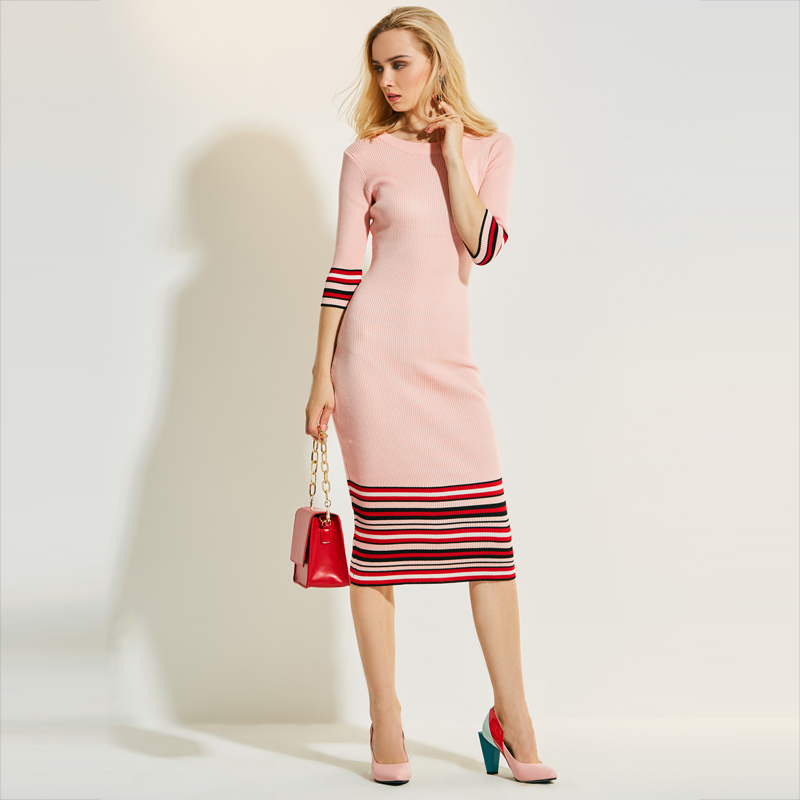 Young17 Autumn Dress Women 2017 Pink Stripe Color Block Knitted Bodycon Patchwork O Neck Mid Calf