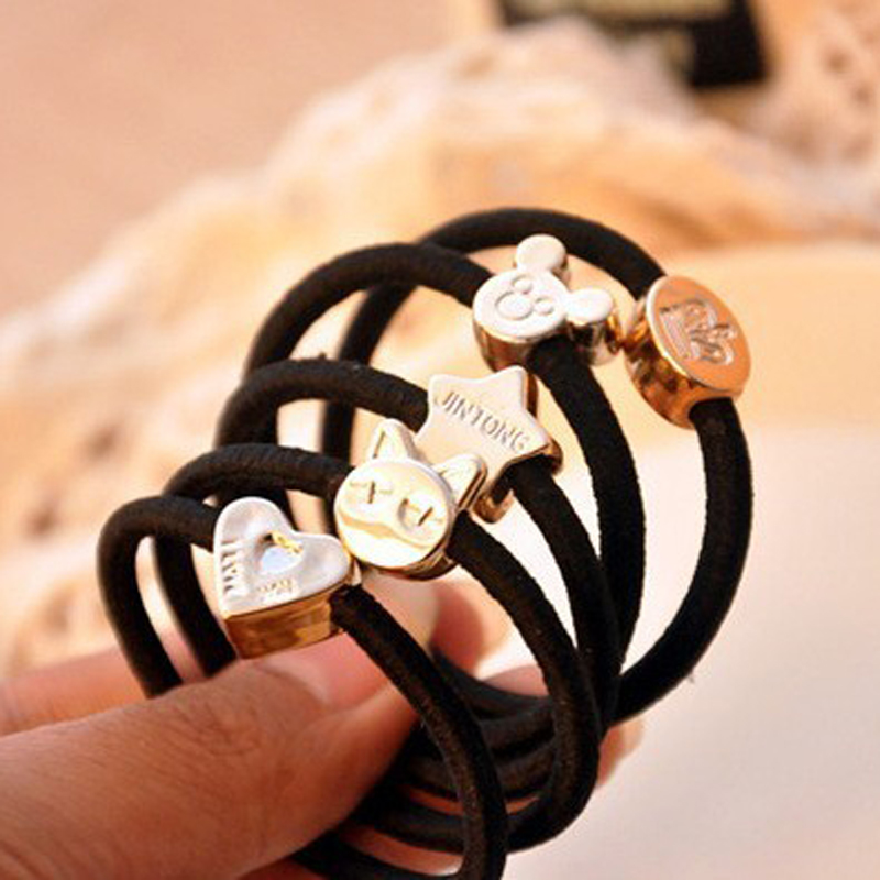 10pcslot Black Hair Accessories for Women Elastic Hair Rubber Bands Girls Lovely Hair Ropes Ponytail Holder Tie Gum Headwear