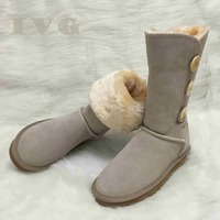 d84ff3b091 Christmas Gift Australian Women Snow Boots 3 Button Waterproof Leather  Winter Warm Long Boots Unisex Shoes
