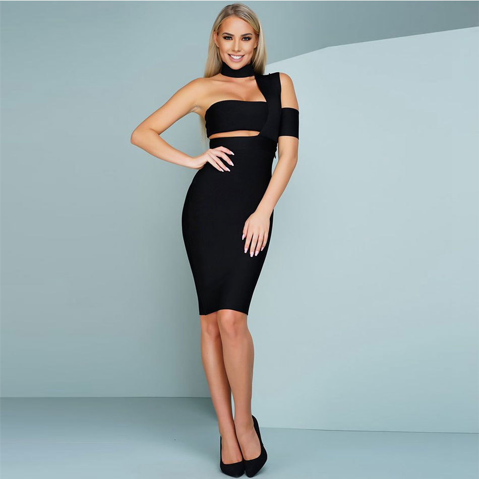 Bandage Dress New Women Summer Black White Dress Hollow out Hater ...