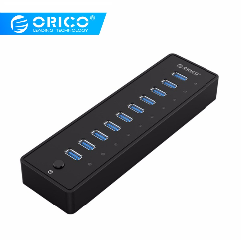 ORICO USB HUB3 0 External 10 Port USB Splitter with VL812 12V3A EU UK Power Adapter