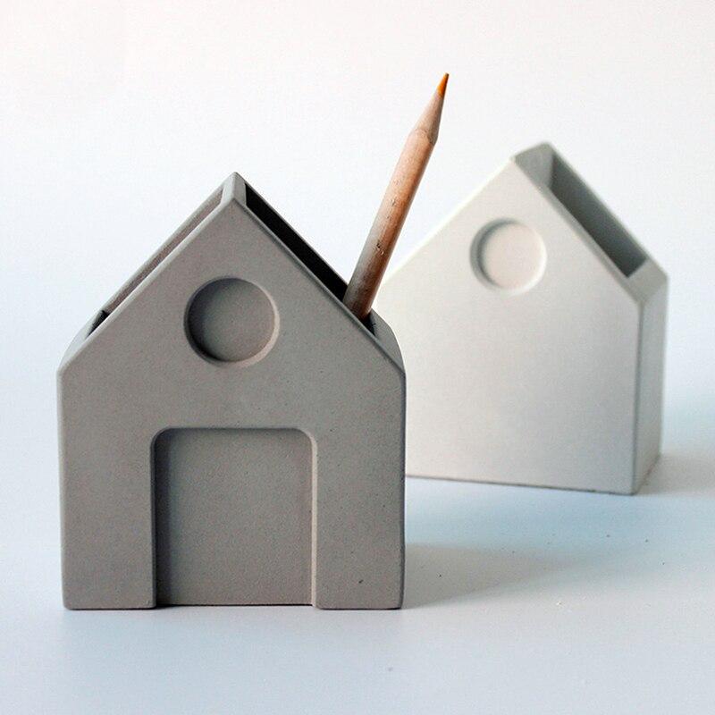 콘크리트 펜 홀더 실리콘 몰드 홈 연구 장식 시멘트 디스플레이 금형 선물을 받았다-에서점토 몰드부터 홈 & 가든 의  그룹 3