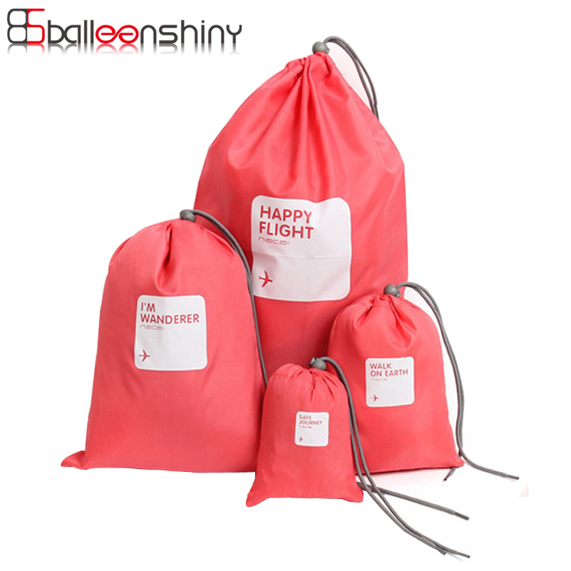 4Pcs Travel Drawstring Tote Nylon Folding Portable Storage Bag Large Capacity Clothes Underwear Gifts Organizer Container Holder