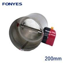 Thép không gỉ 200mm không khí giảm chấn van điện ống dẫn khí cơ giới kiểm tra van cho 8 inch thông gió ống van 220V 24V 12V