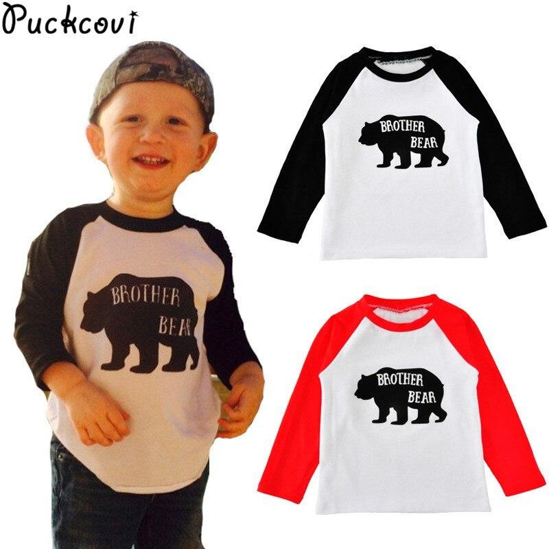 Boys t shirt Girls tshirt Deguisement enfants garcon 2017 Kids t-shirt cotton clothes Bear printing T-shirt raglan tshirts