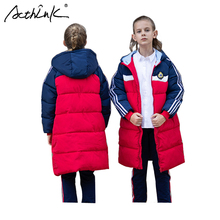 ActhInK 2019 High Quality Student Winter Thermal Coat Girls Long Parka Preppy Style Kids Cotton-Padded
