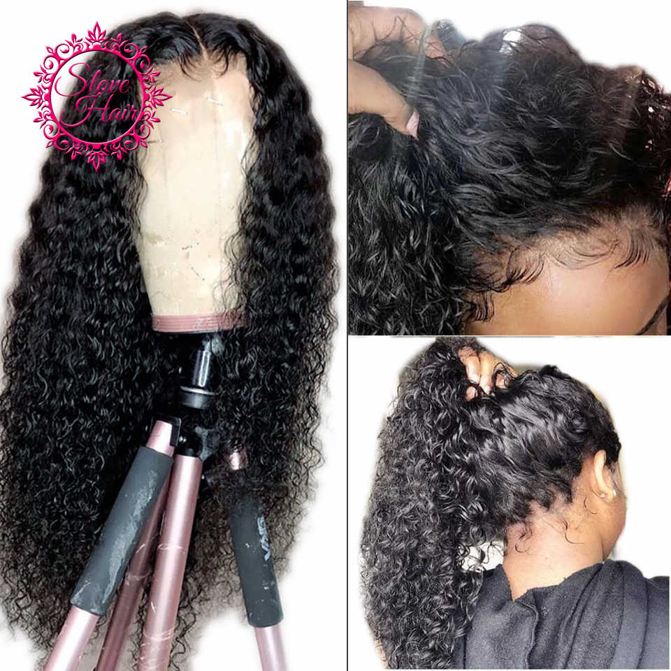 Curly Lace Front Human Hair Wigs For Women Black Color Lace Frontal Wig Remy Brazilian Plucked With Baby Hair Full End By Slove