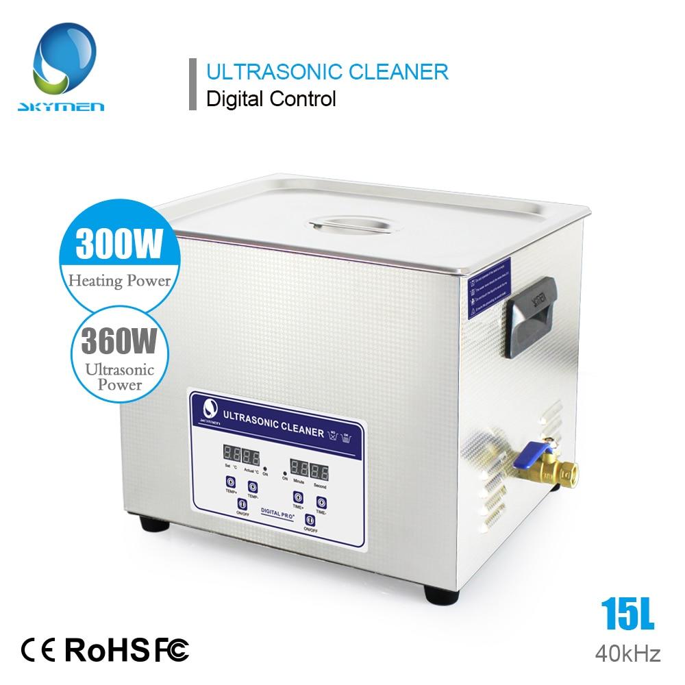 SKYMEN Digital 15L 360W Ultrasonic Cleaner Bath Heater Timer Ultrasound Bath with Stainless Baskets Ultra Sonic
