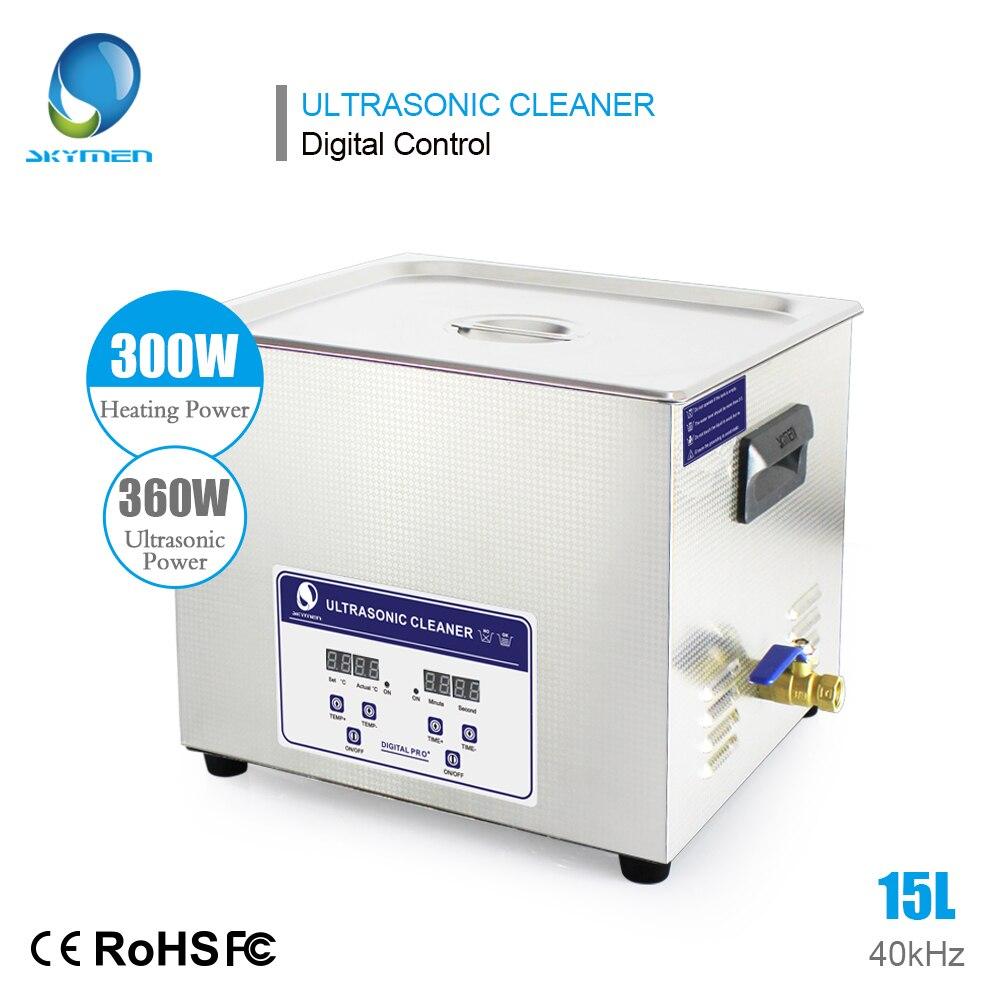 SKYMEN Digital 15L 360 W nettoyeur Ultra sonique bain chauffant minuterie bain à ultrasons avec paniers en acier inoxydable Machine de nettoyage Ultra sonique