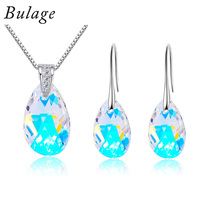 Bulage Water Drop Jewelry Set Crystal From Austria Sliver Color Pendant Necklace Dangle Earrings For Women