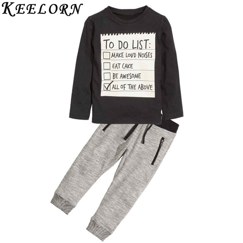 Keelorn Baby boy clothes 2017 New Winter and Autumn Dark Grey long sleeve t-shirt + casual long pants 2pc suit kids clothes keelorn baby boy clothing set 2017 new autumn fashion style long sleeve elephant print t shirt pant 2pcs kids clothes
