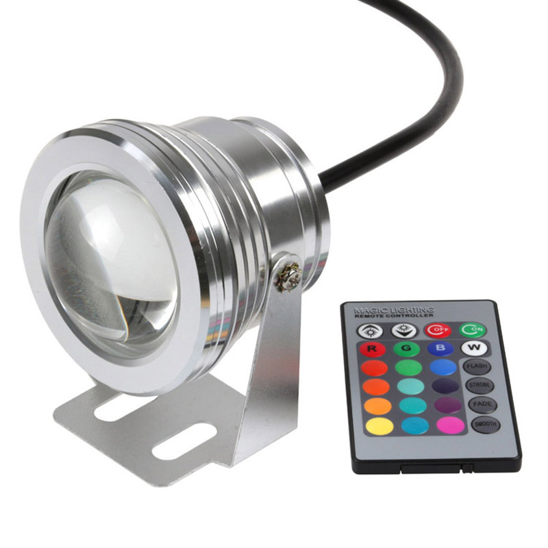 2018 New 16 Colors 10W RGB 12V LED Underwater Fountain Light For Ponds Swimming Pool Aquarium Tank LED Light Lamp Waterproof
