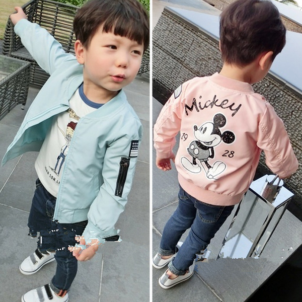 Mickey Jacket New Arrival Clothing For Baby Girls <font><b>Boys</b></font> Coat Cartoon Printed Flight jacket Autumn Kids Outerwear Children Clothes