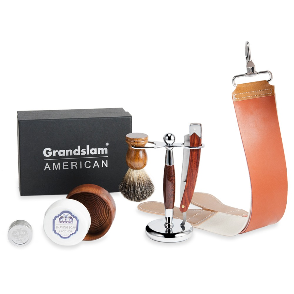 Grandslam Vintage Shave Readay Straight Barber Razor Gift Sets Pure Badger Hair Shaving Brush Soap Bowl