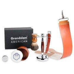 Grandslam, винтажная бритва, reyay, прямая, Парикмахерская, бритва, подарочный набор, чистый барсук, щетка для бритья, мыльница, бритва, подставка