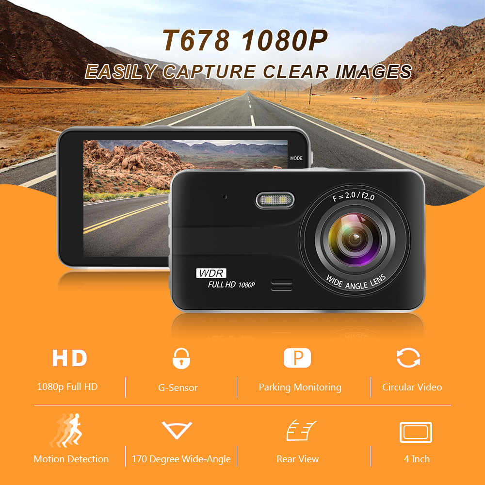 Image 2 - Car DVR 4 Inch Auto Camera Dual Lens Full HD 1080P Dash Cam Video Recorder With Rear View Camera Registrator Night Vision DVRs-in DVR/Dash Camera from Automobiles & Motorcycles