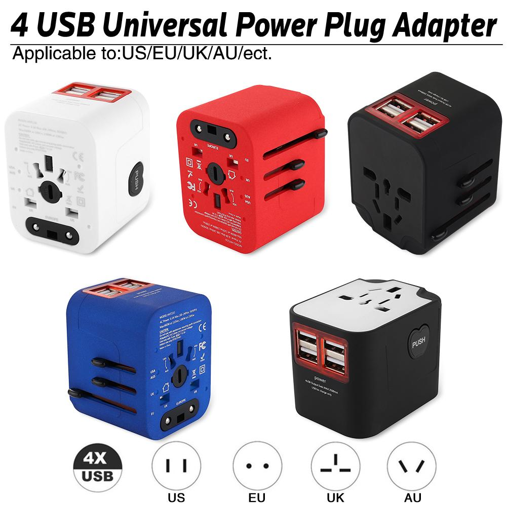 лучшая цена Travel Adapter International Universal Power Adapter All-in-one With 6A 4 USB Worldwide Wall Charger For UK/EU/AU/Asia