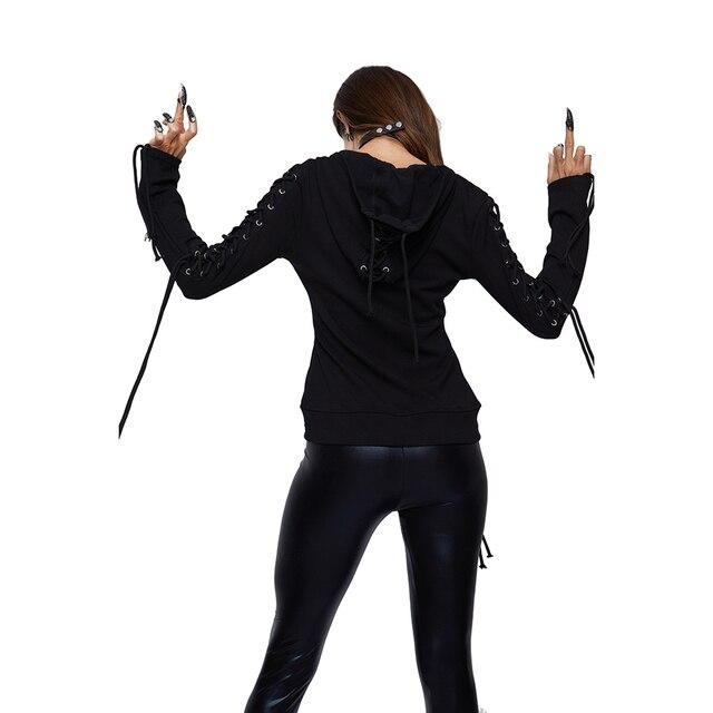 2019 Gothic Punk Women Hoodies Lace up Hooded Long Sleeve Casual Harajuku Darkness Autumn winter Goth Black Sweatshirt Plus Size Women Sweatshirts & Women Hoodies