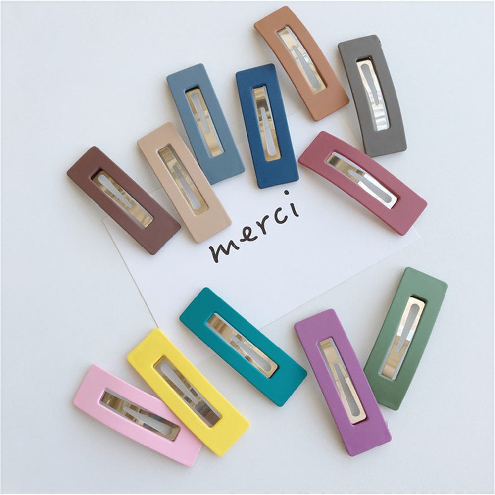 Fashion Women Girls Candy Color Square Hair Clip BB Hairpins Metal Barrettes Styling Tools Hair Accessories For Party Daily Life