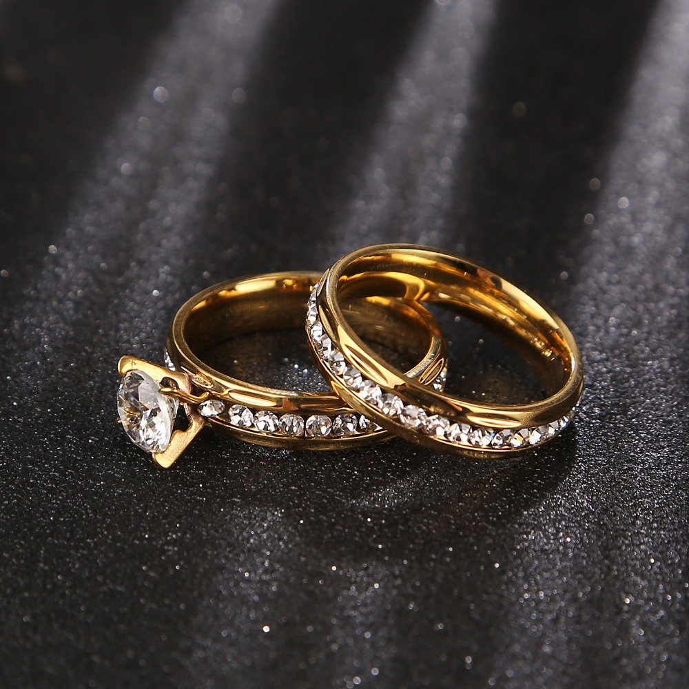 Gold wedding rings Stainless Steel Engagement Ring for Women with CZ 2