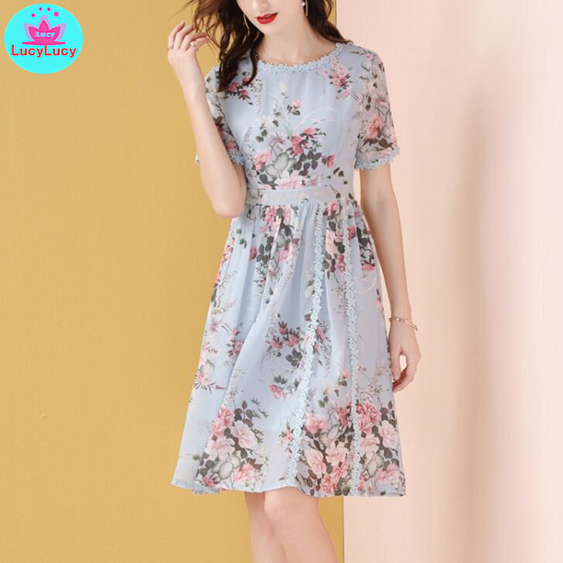 2019 new European and American summer ladies temperament fashion slim floral chiffon dress Knee Length Print in Dresses from Women 39 s Clothing