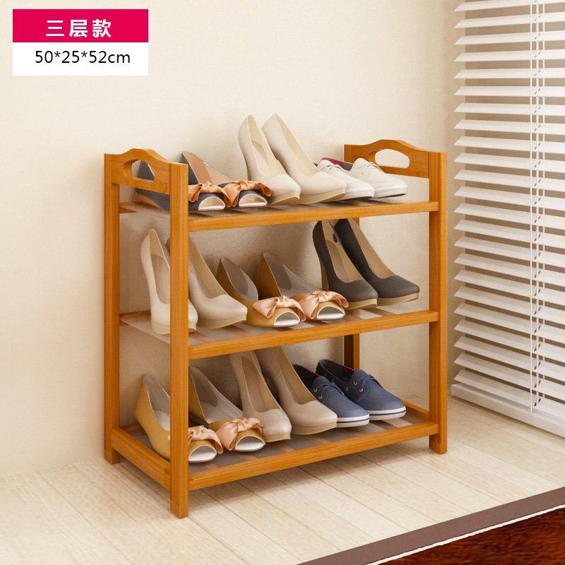 3 Tier Solid Wood Shoe Cabinet Nan Bamboo Shoe Racks Simple Shelves Shelves Flower Racks wall shelf for tea pots