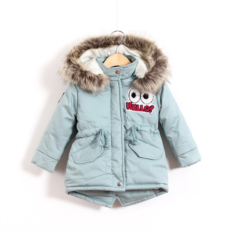 Children Thicken Warm Winter Coat Kids Cotton-padded Jacket Wadded Outwear Thickening Boys Girls Fur Hooded Parkas Clothes Y105 2015 winter new women medium long 8 colors l 4xl hooded wadded outwear coat fur collar thick warm cotton jacket parkas lj2992