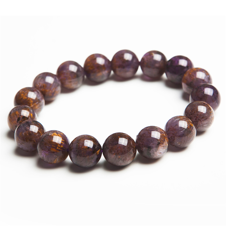 12.5mm Genuine Brazilian Gold Purple Hair Rutilated Quartz Crystal Round Beads Fashion Jewelry Stretch Charm Bracelet Women fashion round crystal dial quartz bracelet watch for women purple silver 1 x lr626
