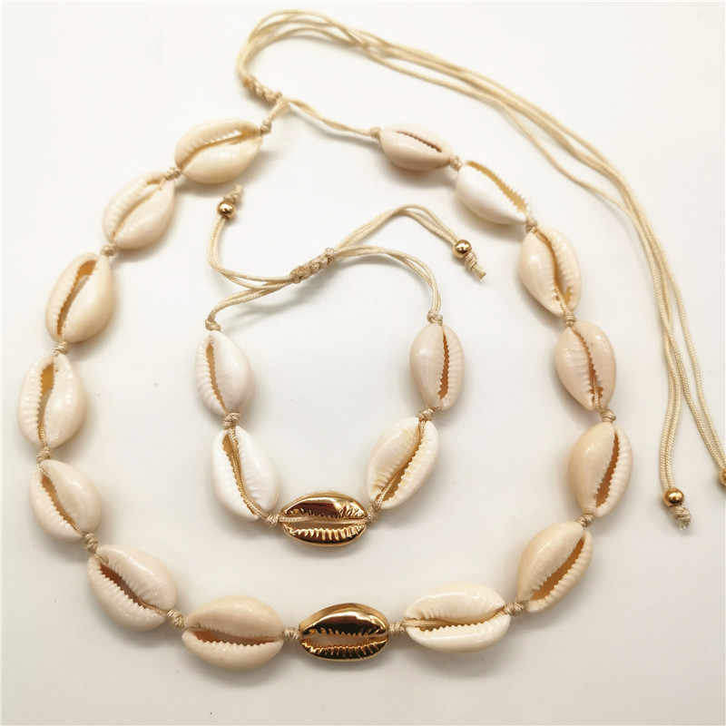 Gold Color Metal Cowrie Shell Choker Necklace for Women Natural Shell Necklace Bead Chain Statement Collier Fashion Jewelry 2019