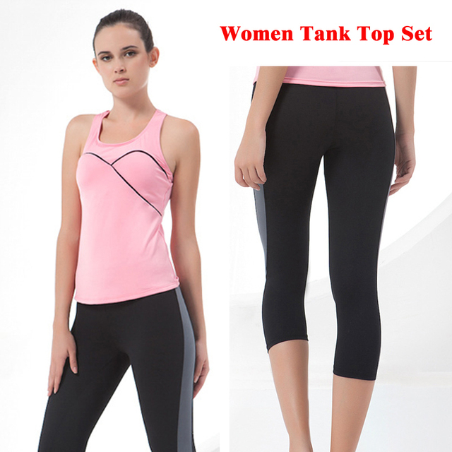 bd77a8afbd4bf Women Crop Tank Top Female Set Vest Clothing Fitness Bodybuilding Shirt  Singlet Sportswear Suit Sleeveless Workout