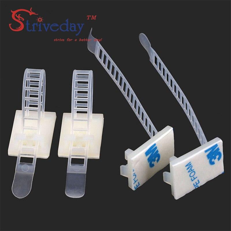 100 шт./лот кл-3 регулируемый кабельные зажимы провода кабельные стяжки крепления охраны окружающей среды винт отверстия клей пучкового стяжек