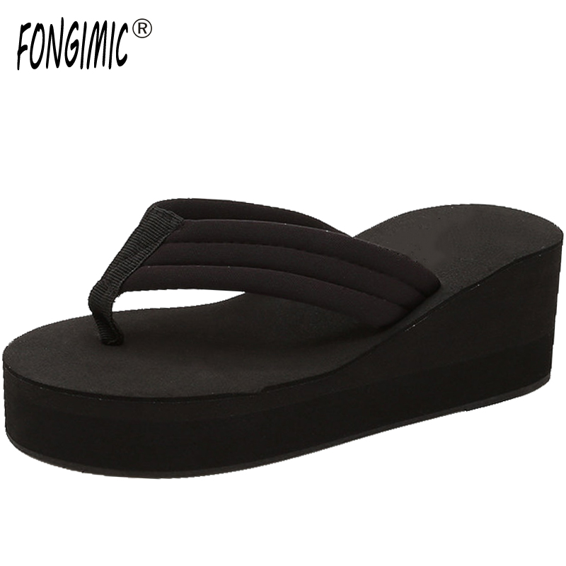 Hot Sale Flip Flops Woman Soild Wedges Platform Shoes Lady Summer Style High Heels Beach Sandals Ladies Thick High Slippers купить