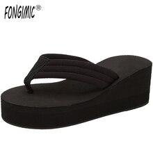 Hot Sale Flip Flops Woman Soild Wedges Platform Shoes Lady Summer Style High Heels Beach Sandals Ladies Thick High Slippers