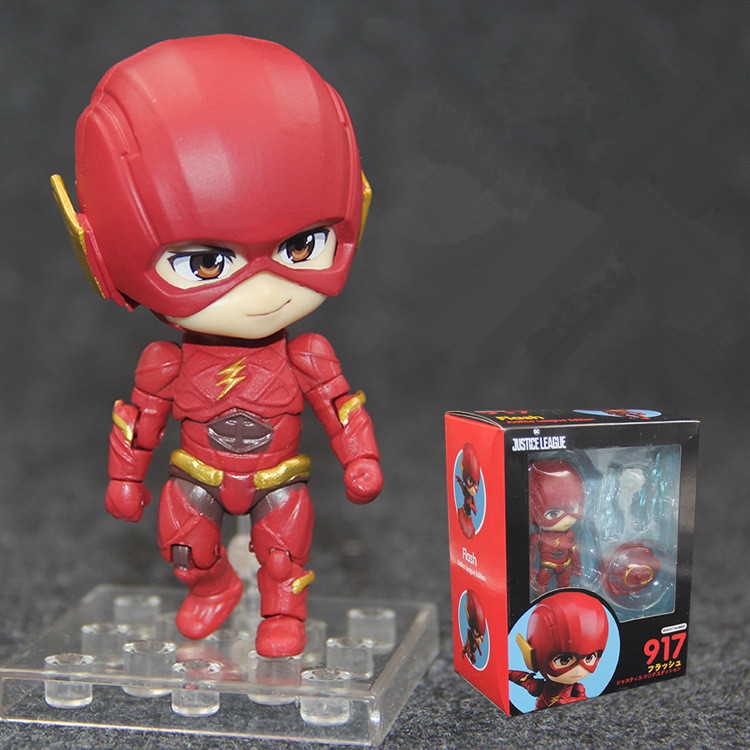 Good Smile Anime DC Comics Justice League Super Hero Flash Nendoroid #917 PVC Action Figure Collectible Model Lovely dolls toys image