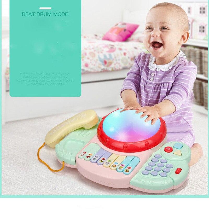 Bébé musique tambour jouets électroniques téléphone Clap tambour Instrument de musique avec lumière et son jouets classiques pour enfants cadeau