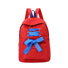 Simple Canvas Bandage Ribbons Backpack Women Girl Rucksack Bowknot Student Backpack Girls Backpacks Waterproof Backpacks #30(China)