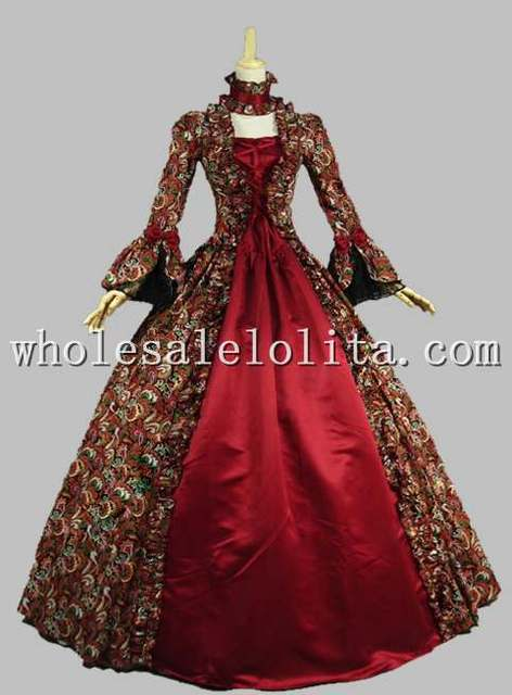 Gothic Red Printing Long Sleeves 18th Century Historical