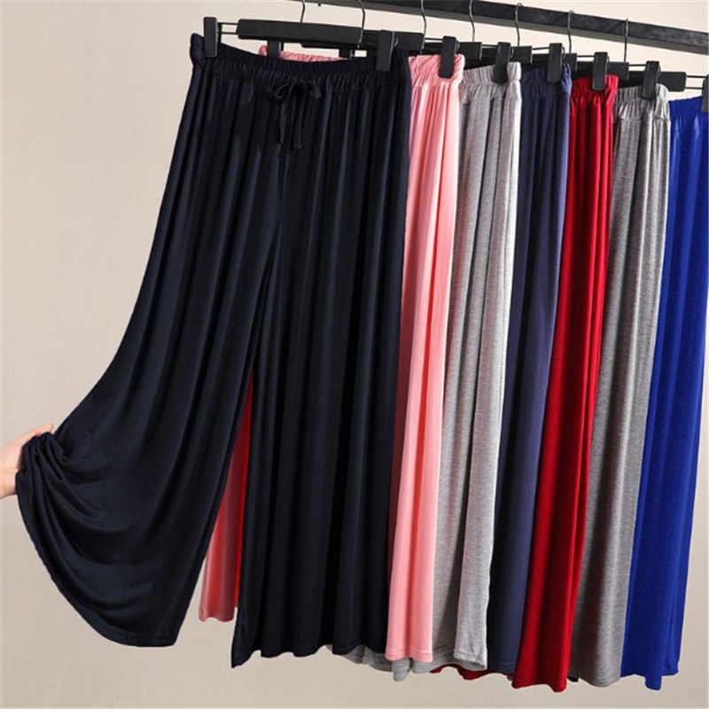 Pantalones De Modal Y Capris De Oficina Para Mujer Pantalones Elasticos A La Altura De La Pantorrilla Lidy Plisado Liso Pantalones De Pierna Ancha Y886 Pantalones Y Pantalones Capri Aliexpress