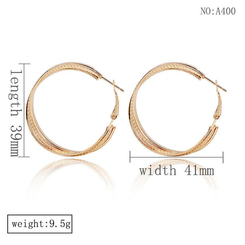 Simple Gold color Big Hoop Earring  2