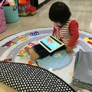 Image 2 - Portable Kids Toy Storage Bag And Play Mat Baby Crawling Blanket Mat/Rug/Carpet For Children   Soft Cartoon Toys Organizer Round