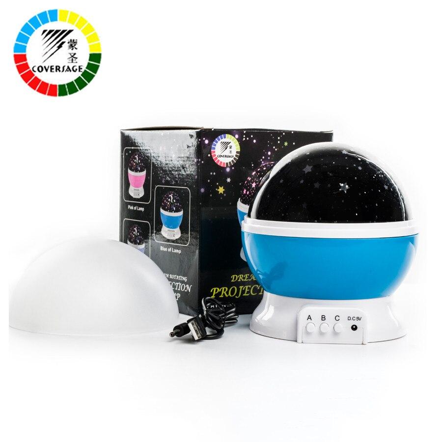 Coversage giratorio noche proyector de luz de giro cielo estrellado cielo estrella maestro niños bebé sueño romántico Led USB Lámpara de proyección