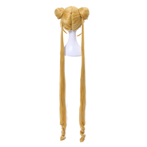 Image 3 - L email wig Sailor Moon Cosplay Wigs Super Long Blonde Wigs with Buns Heat Resistant Synthetic Hair Cosplay Wig Halloween