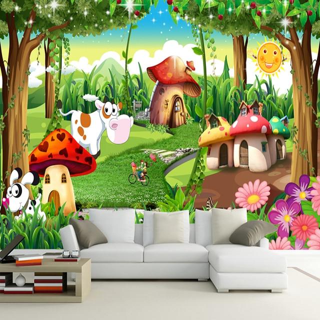 Custom 3d Photo Wallpaper Children Room Bedroom Cartoon Forest House
