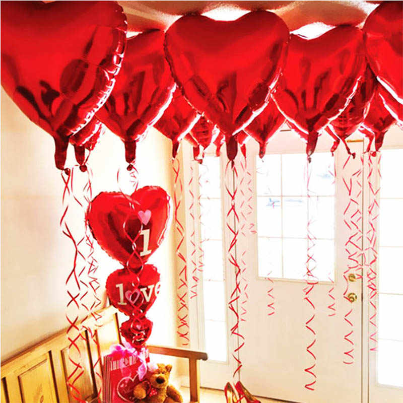 10pcs/set 18inch Wedding Heart Ballon For Wedding Party Helium Heart Balloon For Bride Ball Baloon Anniversary Decor Supplies XN