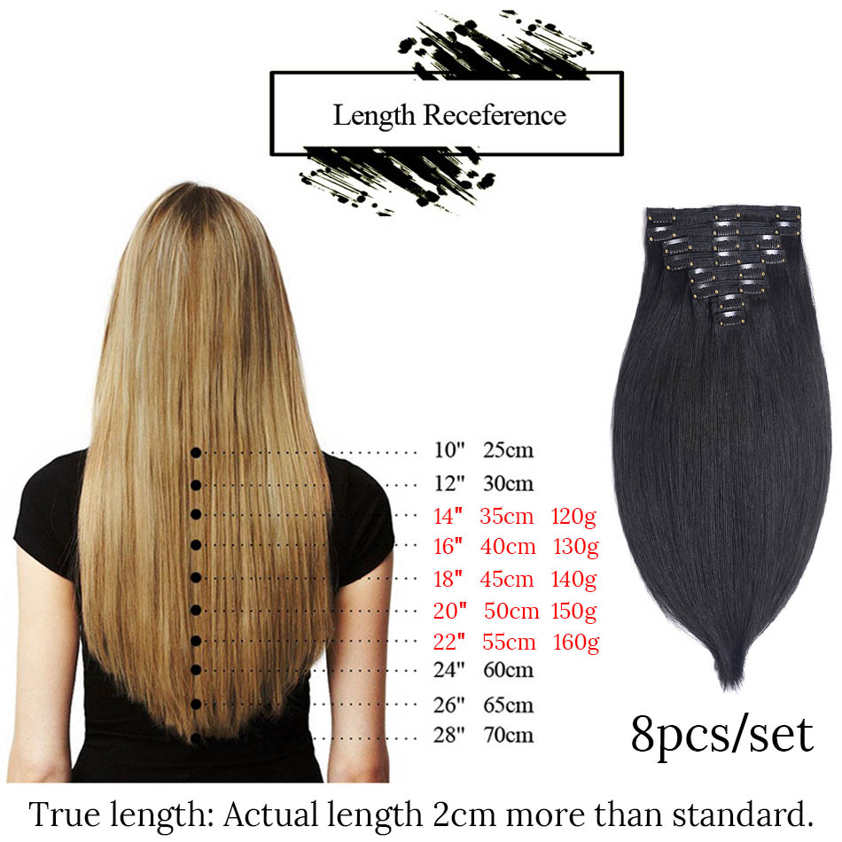 MRSHAIR 8 stks / set Clip In Human Hair Extensions 18