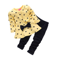 Fashion Girls Love Bow Leisure Suits Pure Girl Cotton Clothing Sets Spring And Autumn Sports Girl