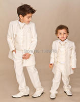 custom suit Boys Ivory 4 piece suit Boy wedding suits Boy Tuxedo(Jacket+Pants+Vest+tie)boys dress suit Free Shipping