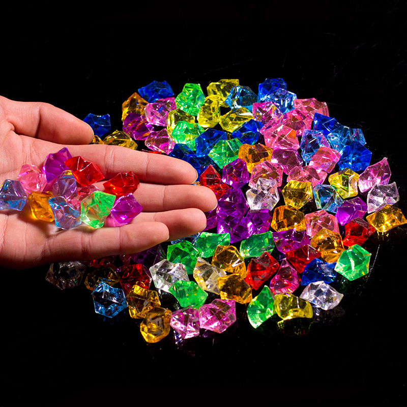 Ice Plastic Ice Grain Seven Color Small Stone Children Gemstone Acrylic Broken Ice Counter Crystal Diamond 1 Package