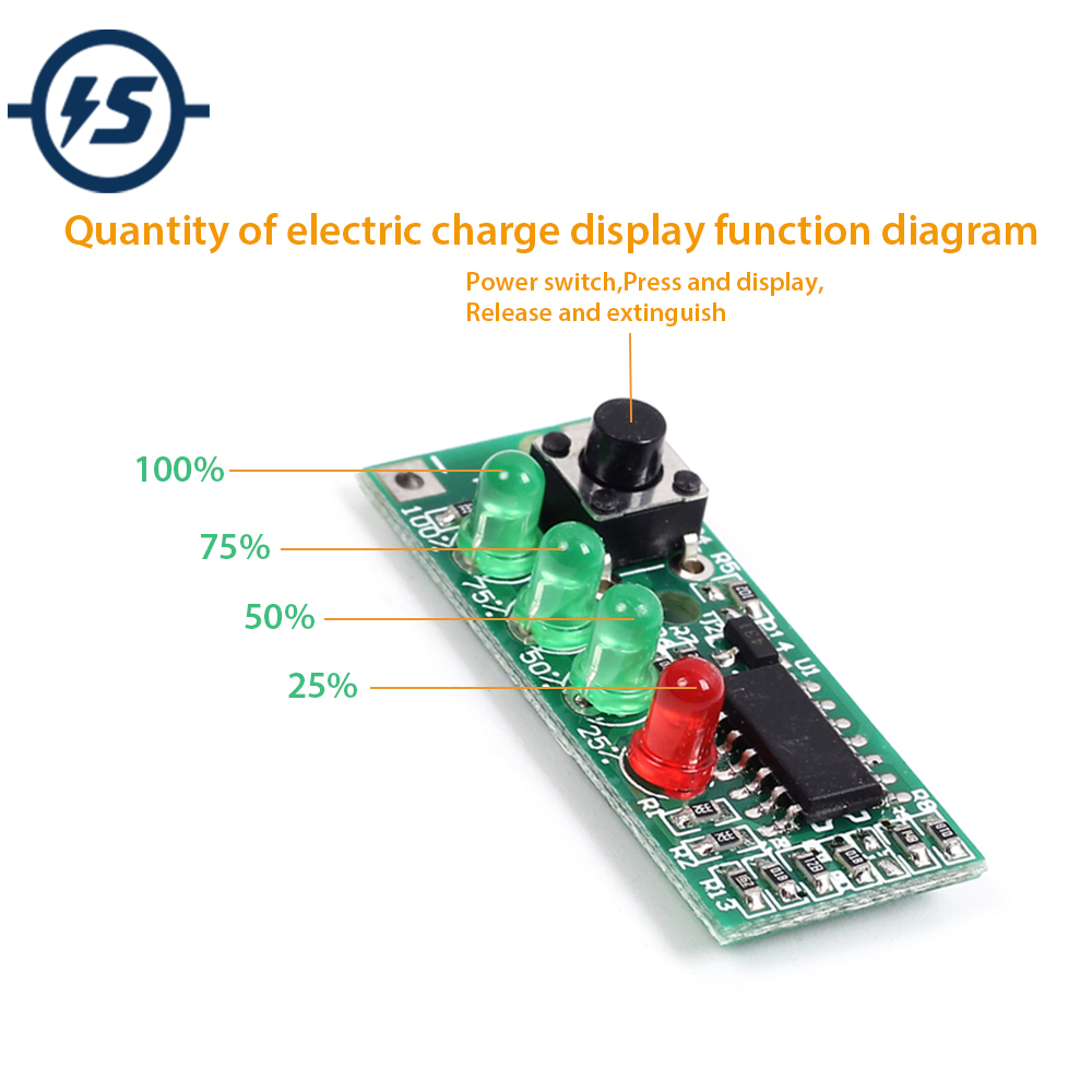 Power Indicator 4 Level Battery Tester For 3s 12v Lithium Saturation Voltage 126v Quantity Of Electric Charge Display In Integrated Circuits From