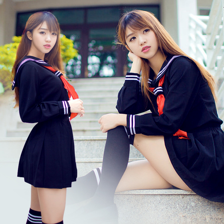 HOT Japanese/Korean Anime Hell Girl Cosplay Costume School Uniforms Cute Girl Sailor Suit JK Student TOP +Dress+Tie Clothing